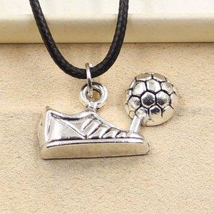 Anhänger Fußballstiefel Schuhe Halskette Choker Charme Schwarz Leder Schnur Fabrik Preis Handgefertigte Schmuck 0E3M