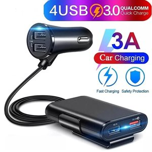 4 USB Ports Fast Charging QC3.0 Car Charger Power Adapter with Extension Cable Car Charger Power Adapter with Extension Cable
