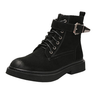 Fashion retro Martin boots female autumn winter new style buckle zipper thick-soled casual short boots Korean student short boots
