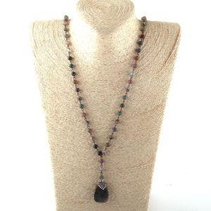 MOODPC Fashion Bohemian Tribal Jewelry Rosary Chain Handmake Paved Stone Pendant Necklace