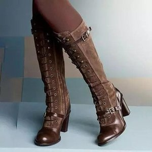 Women Vintage Medieval Boots Retro Cosplay High Martin Boots Square Heel Pu Leather Winter Women Knee-High Shoes 2020