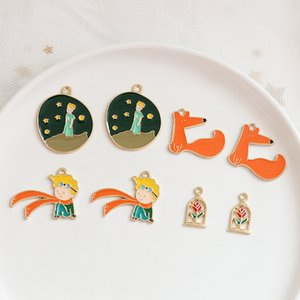 Enameled Planet Rose Little Fox Prince alloy drip enameled DIY earrings bag bracelet necklace charm pendant