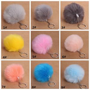 8CM Fluffy Rabbit Fur Ball Pompon Key Chain For Women Faux Fur Pompom Keychain Female Key Ring Holder Bag Car Trinket Jewelry Wedding Gift