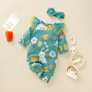 Cartoon Baby Girl Romper Toddler tassel Long Sleeve Cotton Newborn Jumpsuit Floral Print Playsuit Headband Outfits Clothes12 B1203