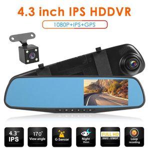Dash Cam DVR 4.3-дюймовый IPS 1080P Двойной объектив Readview Зеркал Приборная панель Автомобильная камера Автомобильная камера Рекордер Автомобильный видеорегистратор Видеорегистратор Зеркало