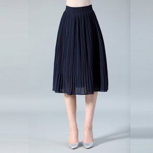 Snow Pinnacle Женщины шифон юбка Летние тонкие твердые плиссированные юбки Womens Saias Midi Faldas старинные женщины MIDI юбка Q1209