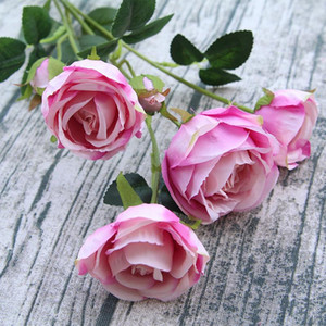 1Pc Silk Artificial Rose FlowerBranch Realistic 6 Head Flowers With Leaves Home Wedding Decoration Plastice Flower Fleur Fausse