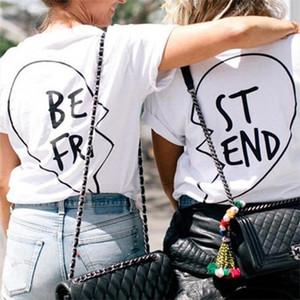 LUSLOS BEST FRIEND Heart Print Women T Shirt Causal Summer Short Sleeve Ladybro Tshirt Cool Streetwear Matching Girlfriends Top