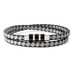 Fysara Geometry Design Leather Rope Bracelets Stainless Steel Magnet Clasps Charm Bracelets For Men Women Braided Thin Bracelets sqcKRT