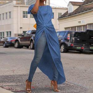 Denim Tops Women Office Tunic Summer Long Blouse VONDA 2020 Casual Short Sleeve O Neck Waist Irregular Party Shirts Plus Size