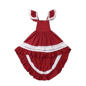 Prinzessin Kind Baby Rotes Kleid für Mädchen Valentinstag Mädchen Kleid Spitze Tutu Party Hochzeit Urlaub Kleider von Schulter Gir Sqcfvw