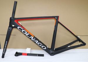 Kırmızı Siyah Colnago V3RS 2020 T1100 UD Karbon Yol Çerçeveleri Disk Bisiklet Frameset Disk 12 * 100 12 * 142mm ile 46/49/52 / 54 cm