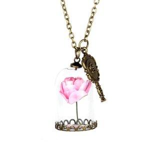 Collana di moda Incantata Rosa in terrario Placcato Placcato San Valentino Day Fairy Tale Gioielli vittoriani