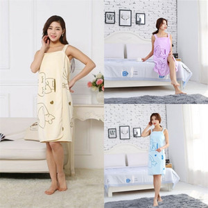Sling Bath Skirt Snap Button Wearable Beach Towel Rabbit Love Heart Padrão Lavar Duche Robe Multi Cor 4 3JM G2