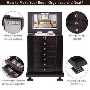 Caixa de jóias Caixa de armazenamento de mesa armário de exposição de jóias com portas duplas e 6 gavetas 7 camadas marrom material MDF
