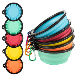 Portable Dog Tableware Feeders Diners Food Bowls Silicone Fold Dog Bowls with Quickdraw Ring Pet Supplies Drop Ship