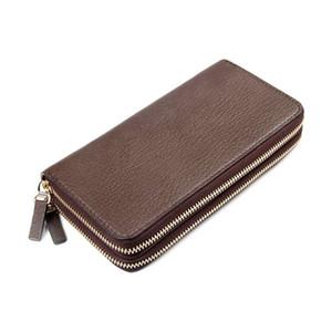Soporte de la tarjeta de la cartera de la cremallera para hombre Monedero de cuero de la moda de la moda de la monedero de la monedero de la moda del bolso de la moneda del bolso de la moneda del bolsillo con caja