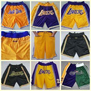 HombresLosisAngelesBolsillo bordado de la puntada de la precisión de la tela lakers solo donnbaPantalones cortos, pantalones cortos de baloncesto con cremallera