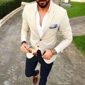 Men's Suits & Blazers Custom Made Mens Beige Blazer Navy Blue Pants 2 Piece Groom Tuxedos Slim Fit Men Wedding Prom Party Suit (Jacket+Pants