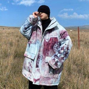 Privathinker Erkek Oil Boyama Çift Parkas Kadın Oversize Casual Sıcak Coat Streetwear Hip Hop Man Moda Parkas Giyim C1115