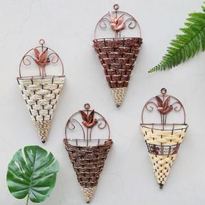 Натуральная плетеная корзина для цветка настенный подвесной горшок Planter Rattan Vase корзина декор ручной работы Wicker висит корзины