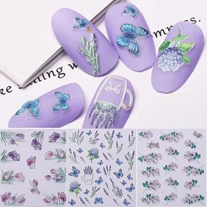 1Sheet Flowers Self-Adhesive Lavender 5D Nail Art Stickers Decals Acrylic Embossed Butterfly 3D Nail Sticker Manicure Decoration