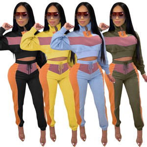 Women Tracksuit Women Two Pieces outfits Crop Top + Pants 2 Pieces Set Panelled Colors Outfits Casual Sweatsuits Jogging Jogger Sportwear