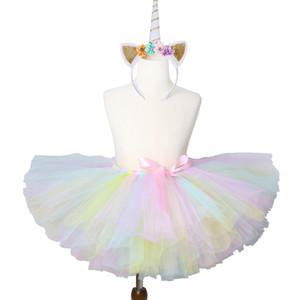 1 Set Pastel Rainbow Unicorn Tutu Skirt Baby Kids Dance Tutu Birthday Party Tulle Skirt Girls Children Halloween Unicorn Costume Y1201