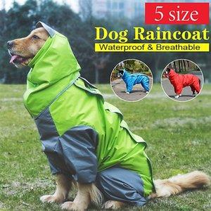 Pet Kedi Büyük Köpek Kapüşonlu Yağmurluk Su Geçirmez Köpek Giysileri Yumuşak Nefes Pet Kedi Küçük Köpek Rainwear 5 Boyutu 201109