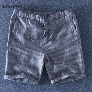 Schinteon 2020 100% Pure Linen Striped Shorts Men Summer Beach Elasticated Drawstring Thin Casual Comfortable Shorts