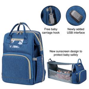 Gezginci Önceden Tasarım Bebek Bezi Çanta Mumya USB Care Sırt Çantası Mommy Rahat İşlevli Su Geçirmez Annelik Çantası Q1221