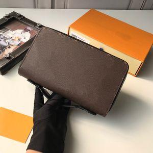 Männer Luxurys Designer-Taschen Brieftaschen Zippy XL Brieftasche Taschen Leinwand Kalbsleder Handtaschen Geldbörse Grau Braune Blumen Leder Brieftaschen mit Box