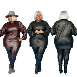 Tallas de mujer de talla grande Ropa casual Conjunto de dos piezas Trajes formales. Traje de color sólido se adapta a la ropa de gran tamaño conjunto