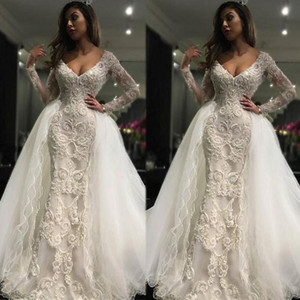 Deep V Neck Long Sleeves Wedding Dresses With Detachable Train 3D Lace Appliques Mermaid Wedding Gowns Tulle Illusion Vintage Bridal Dress