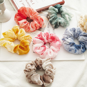 Stain Chiffon elastic scrunchie for girls candy color princess hairband children elastic ponytail holder designer women hairband A5642