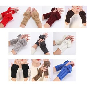 Winter Crochet Knitted Fingerless Gloves with Thumb Hole Women Solid Color Cute Bowknot Stretch Half Fingers Mittens Arm Warm