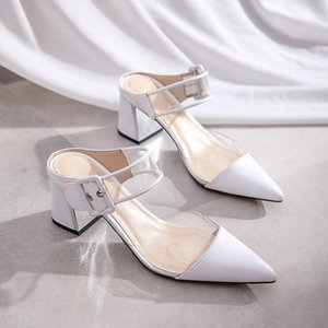 kmeioo sheepskin shoes pointed toe pumps transparent mule sandals buckle mules women mule slides chunky heels