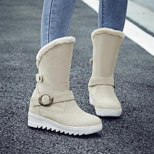Women Wintr Snow Boot 2021 Warm Plush Non Slip Flat Shoes Buckle Mid Calf Boots Booties Women With Platform Woman Shoes