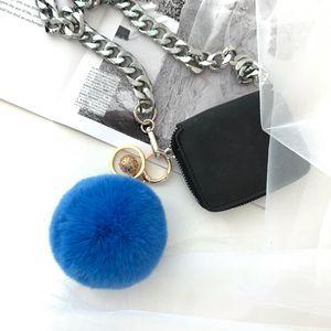 Key-Chain Jewelry Trinket Pompons Real Rex Fur Ball Women Fashion Bag-Hang Pendant 13-Colors
