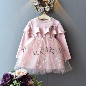 wholesale Children's dress Chiffon Splicing Children's clothing princess dress children's temperament cute stitching lace mesh dress 201201