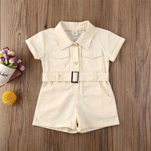 Summer Short Sleeve Buttons Solid Pockets Belt Jumpsuit Romper Playsuit 1-6 Years Clothing Toddler Kid Infant Baby Girl Romper
