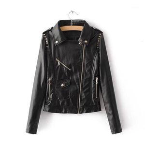 Kobykoyi Kadınlar Sonbahar Bombacı Ceket Kaban Moda Sokak Yıkanmış PU Deri Ceket Zip Kadınlar için Tops Siyah Ceket Chaqueta Mujer1