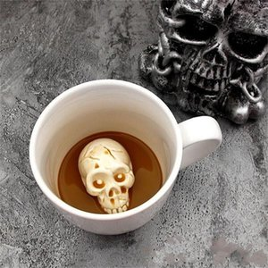 Pure Color Mug White Black Skull Cup Coffee House Office Bar Restaurant Drinking Use Water Tumbler Creative 9hz L1
