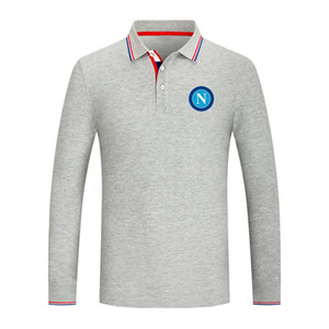2021 SSC Napoli New Long Sleeve Lapel Sports Polo Shirt Cotton Pure Color Casual Men's Polo Shirt High Quality Golf Series Jersey
