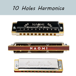 NAOMI Professional Blues Harp 10 Hole Harmonica Bules Diatonic Harp Wooden body Key of C Christmas Gift