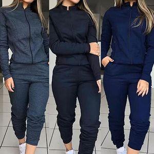 Kırılmaz Kadınlar İki Parçalı Set Katı Renk Fermuar Kazak Uzun Kollu 2020 Sonbahar Kış Pantolon Suit Güz Eğlence Kıyafet