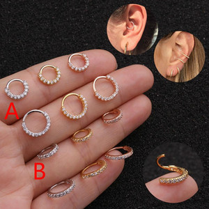 1PC 6mm 8mm 10mm CZ Helix Cartilage Hoop Earring Nose Ring Stainless Steel Tragus Daith Conch Rook Snug Ear Piercing Jewelry