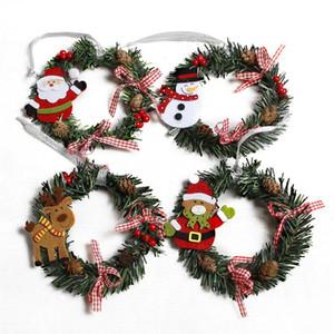 Muñeco de nieve Ciervo Ciervos Paño Art Guirnalda Ratán Reed Guirnalda Guirnalda Decoración de Navidad Ornamentos Suministros de fiesta Decoración para el hogar GWD3336