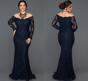 2019 Elegant Mermaid Lace Mother Of The Bride Dresses Off The Shoulder Plus Size Long Sleeves Wedding Guest Dress Floor Length Evening Gowns