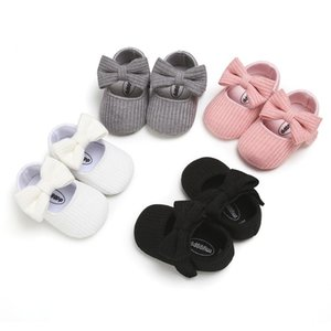 LZH Baby Shoes 2020 Autumn New Baby Girls Solid Bowkont Shoes Princess Knitting Newborn Footwear For Children